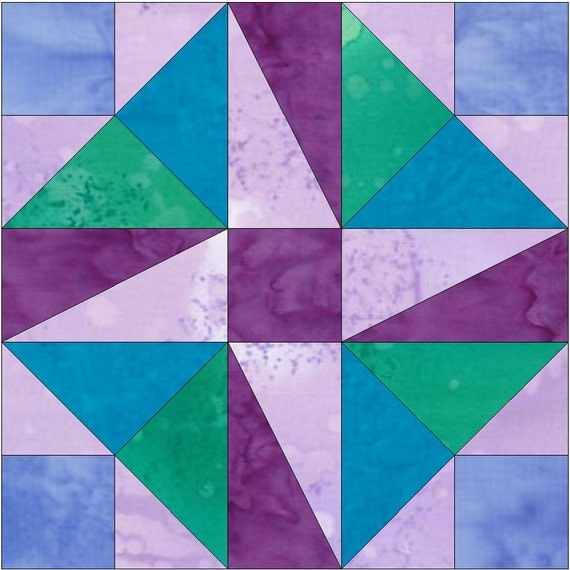 Pinwheel Quilt Block Template : Pinwheel Square Paper Piece Foundation Quilting Block Pattern