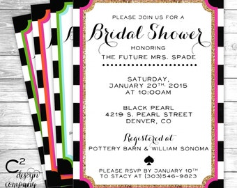 Black & White Stripe Bridal Shower Invitation