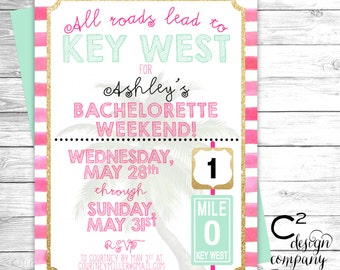 Key West Bachelorette Beach Weekend Invitation