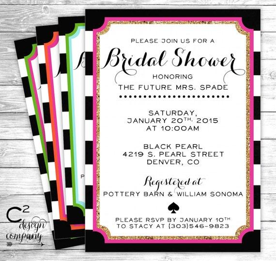 Black White Stripe Bridal Shower Invitation