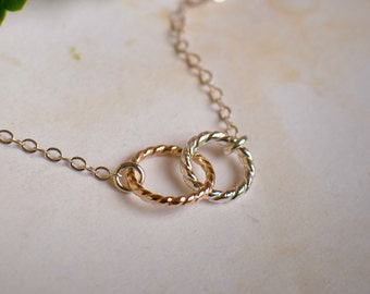 Infinity Double Circle Necklace - Two Tone Interlocking CIrcles in Hammered Sterling Silver and Gold Filled - Bridesmaid Gift Set