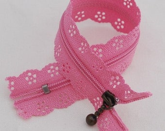 25cm Lace Zipper  - MEDIUM PINK