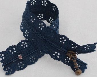 25cm Lace Zipper  - NAVY