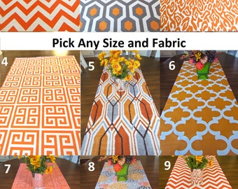 ORANGE TABLE RUNNER Orange Table Runners Orange Pumpkin Thanksgiving Leopard Moroccan Floral Chevron 12 x 48 12 x 60 13 x 72 13 x 84 14 x 96
