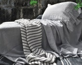 Light grey luxurious natural linen flat sheet. Stonewashed linen bedding. King and Queen sizes