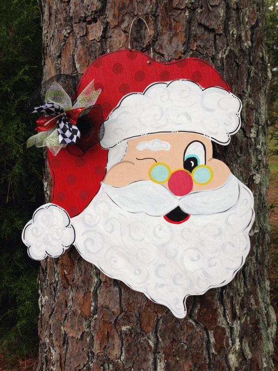 Santa door hanger christmas door hanger christmas door for Wooden christmas cutouts