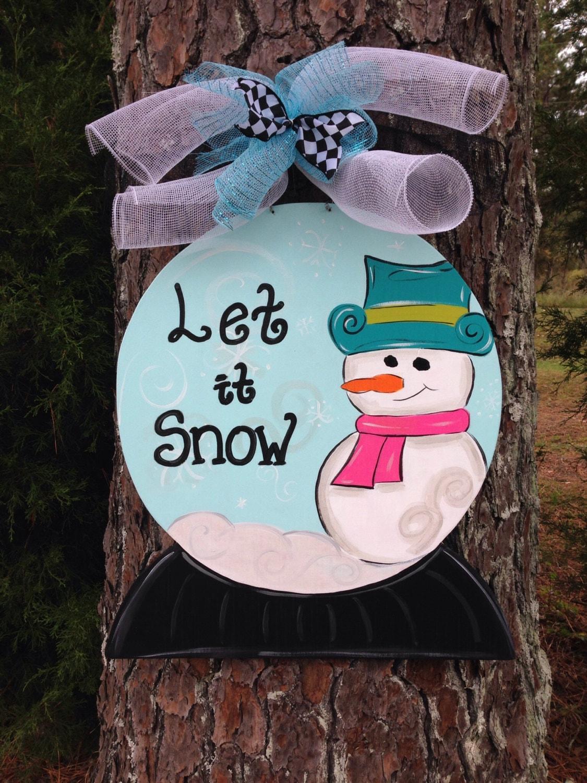 Snow Globe Door Hanger Personalized Door Hangerwinter Door