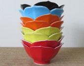 Vintage Lotus Rice Bowls Red, Orange, Yellow, Blue and Black - Set of 8