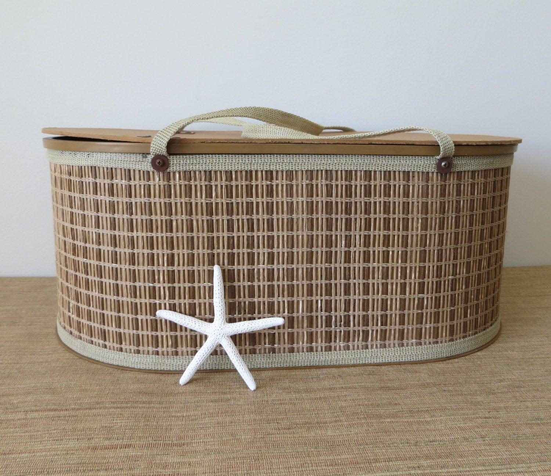 vintage large woven picnic basket with fabric handles. Black Bedroom Furniture Sets. Home Design Ideas