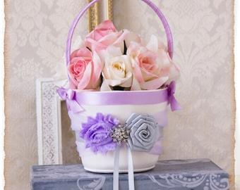 Orchid  Flower Girl Basket, Silver Flower Girl Basket, Orchid Petal Basket,Orchid Wedding Decor,  Wedding Accessories, Custom Color Wedding