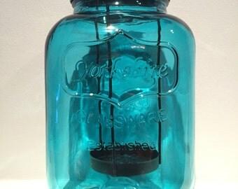 Mason Jar Tealight Candle Holder- Glass Tealight Candle Holder - Tealight Candle Holder - Teal Candle Holder - Rustic Lantern