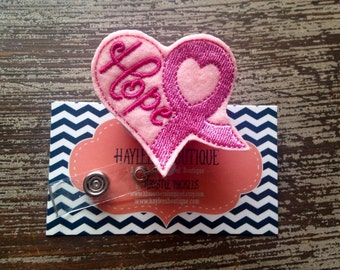 Nurse Retractable Badge Reel - Breast Cancer - Nurse Name Badge - Nurse Badge Reel- Nurse Badge Holder - Felt Badge Reel - Office Gift