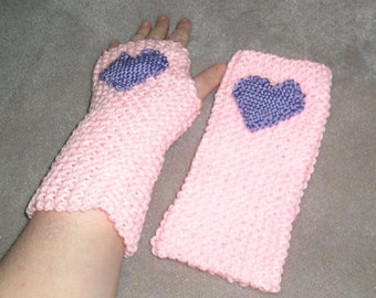 Light Pink Fingerless Mitts with Woven Purple Heart Embellishment, Winter Accessories, Christmas, Stocking Stuffer,  Valentine Day, Love