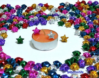 500pcs Tiny Origami Lucky Stars In Assorted Colors. (4D Glittering paper series).