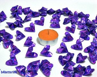 100pcs Purple Color Medium Size 3D Origami Hearts. 'LOVE'. (4D Glittering paper series). #FOH-154.