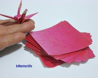 "100 Sheets 3"" x 3"" RED Color DIY Chiyogami Yuzen Paper Folding Kit for Origami Cranes ""Tsuru"". 3""x3"". (TX paper series)."