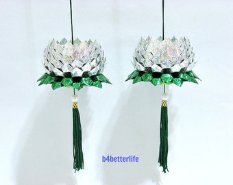 A Pair Of Silver Color Medium Size Origami Hanging Lotus. (4D Glittering paper series). #FLT-81.