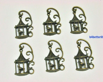 "Lot of 24pcs Antique Bronze Tone ""Bird Cage"" Metal Charms. #BC2582."