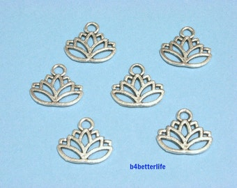 "Lot of 24pcs Antique Silver Tone ""Lotus"" Metal Charms. #BC4119."