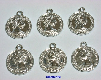 "Lot of 24pcs Double Sided ""Coin Queen"" Silver Color Plated Metal Charms. #XX502s."