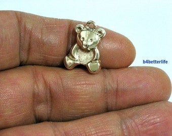 "Lot of 24pcs ""Teddy Bear"" Gold Color Plated Metal Charms. #XX430."