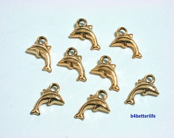 "Lot of 28pcs Double Sided ""Dolphin"" Gold Color Plated Metal Charms. #XX189."