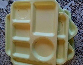 Vintage melamine yellow divided school lunch cafeteria trays