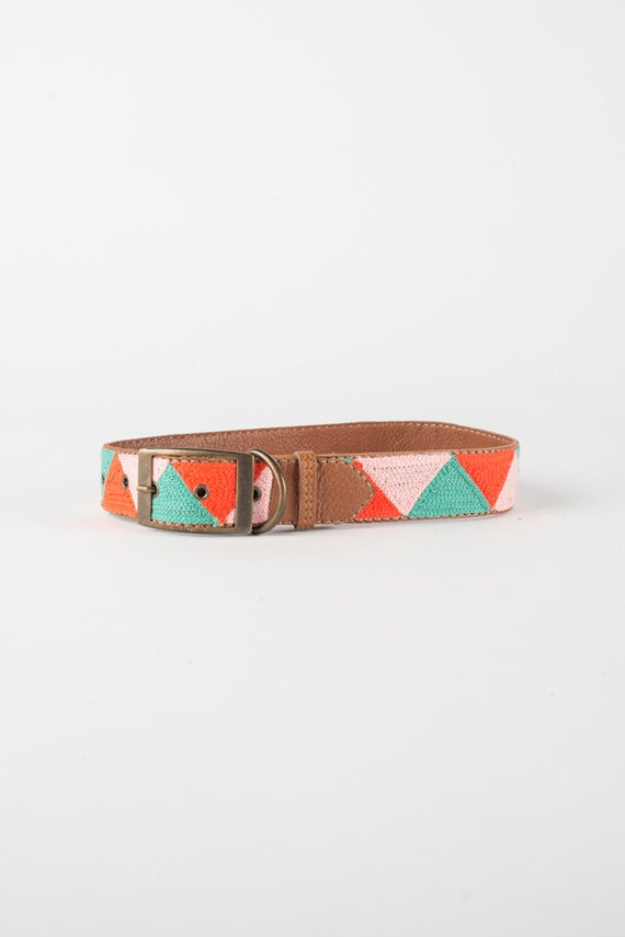 Pink Leather Dog Collar Etsy