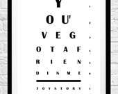 Toy Story 'You've Got A Friend In Me' Eye Chart Movie Quote - Minimalist Eyechart Poster Print - Original Wall Decor, Wall Art