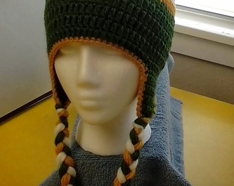 Green Bay Packers inspired earflap beanie with detachable flower.