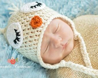 Cream Sleeping Owl Hat - Photography Prop