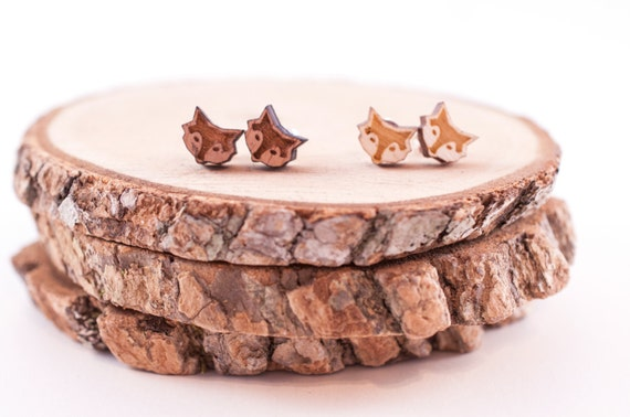 Laser Cut Foxy Wood Earrings | woodland creature earrings | Unisex earrings