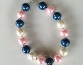 Navy and Pink Chunky Necklace, Baby, Little Girl Bead Necklace, Toddler, Photo Prop, First Birthday Outfit, Ready to Ship