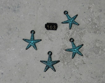 4 Starfish Charm/ Pendants  #103