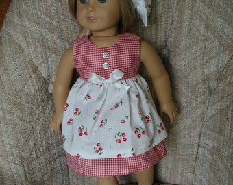 """Cherries on Cotton Spring Dress  for 18"""" American Girl Doll"""