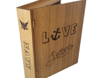 US Navy Love Letters Book Like Keepsake Box
