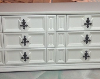 Sold Dresser white tons of detail part of a set Full/ queen headboard king headboard chest