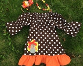 Thanksgiving dress SET INCLUDES hairbow, dress, legwarmers and necklace