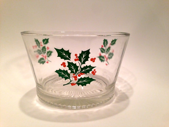 Holly Leaf Holiday Bowl / christmas candy bowl // appetizer bowl / christmas bowl / ice bucket / holiday serving bowl