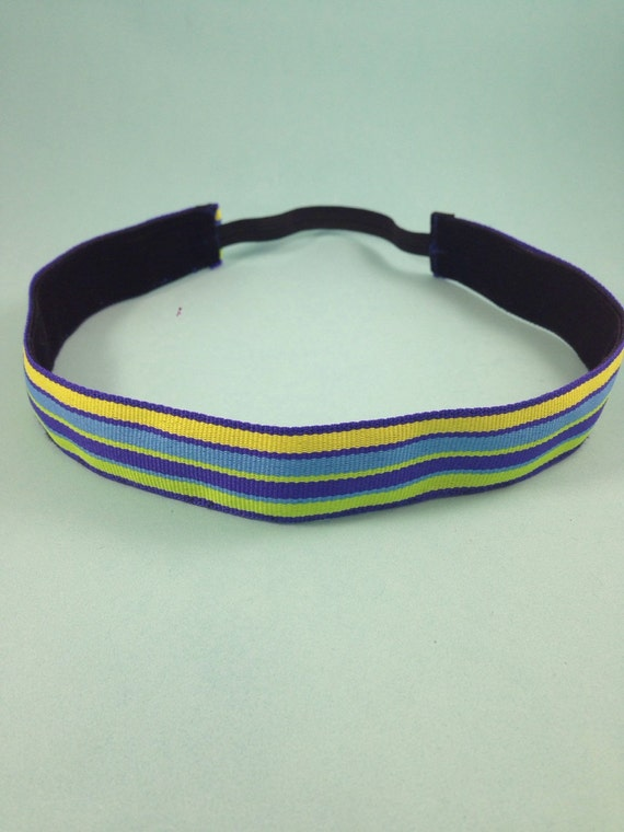 Bright blues & greens striped non-slip headband for everyday and active wear