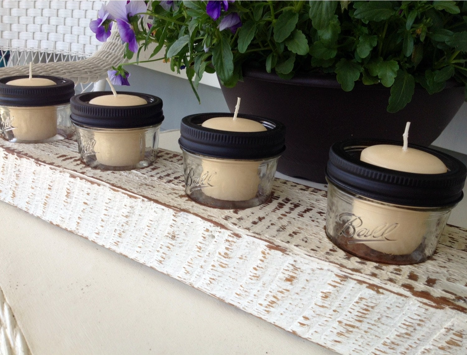 barn wood mini mason jar candle holder. Black Bedroom Furniture Sets. Home Design Ideas