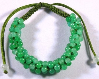 Free shipping - Big Delicately Hand-knotted 81 Green jade Beaded String Bracelet