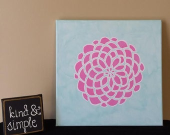 Hand painted pink flower canvas art