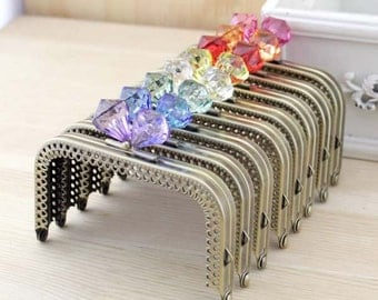 1 PCS, 10cm  / 4 Inch Sew In Squared Purse Frame Kisslock Closure with Diamond Shaped Beads, 12 Colors Available, C22