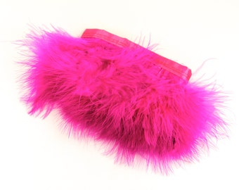 "Hot Pink Marabou Feathers - Marabou Feathers, 12"" in length with a 3"" hang attached to a like color satin ribbon.  Perfect for your DIY ."