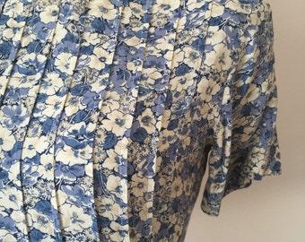 Vintage 90s 80s Blue Floral Pleated Top Grunge Midi Dress