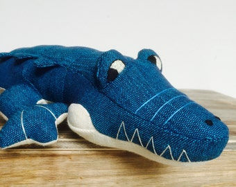 NEW Crocodile Toy Blue Cream Body Hand Made Hand Woven Hand Embroidered 100% Cotton