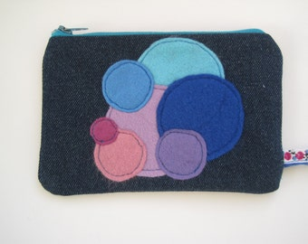 Upcycled denim and felt purse/make-up bag in blues and purples
