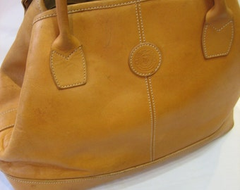 Vintage Club Monaco Caramel Tan Saddle Leather Satchel Handbag