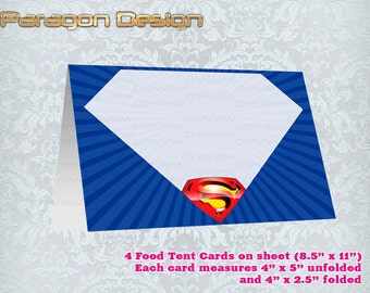 Superman - Food Tent Cards / Place Cards - Printable Digital File